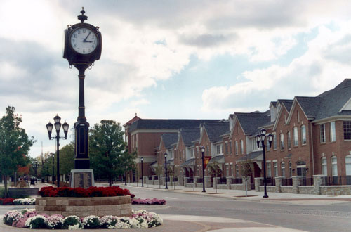 Auburn Hills town square on a cloudy day