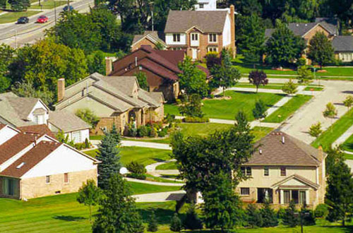 An aerial view of homes in Troy MI